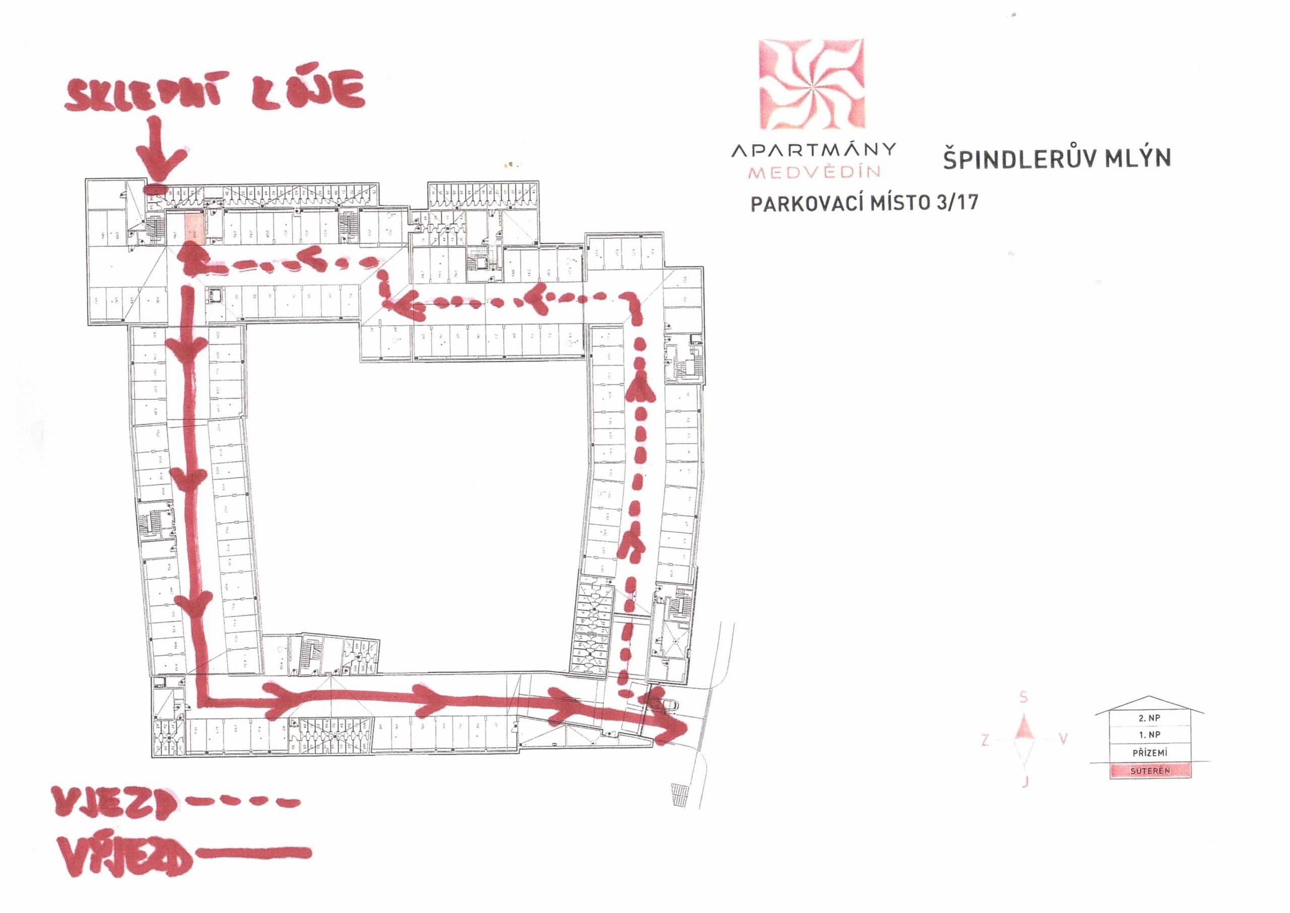 Orientační plánek pro správný směr vozidla v garáži apartmánu ve Špindlu.