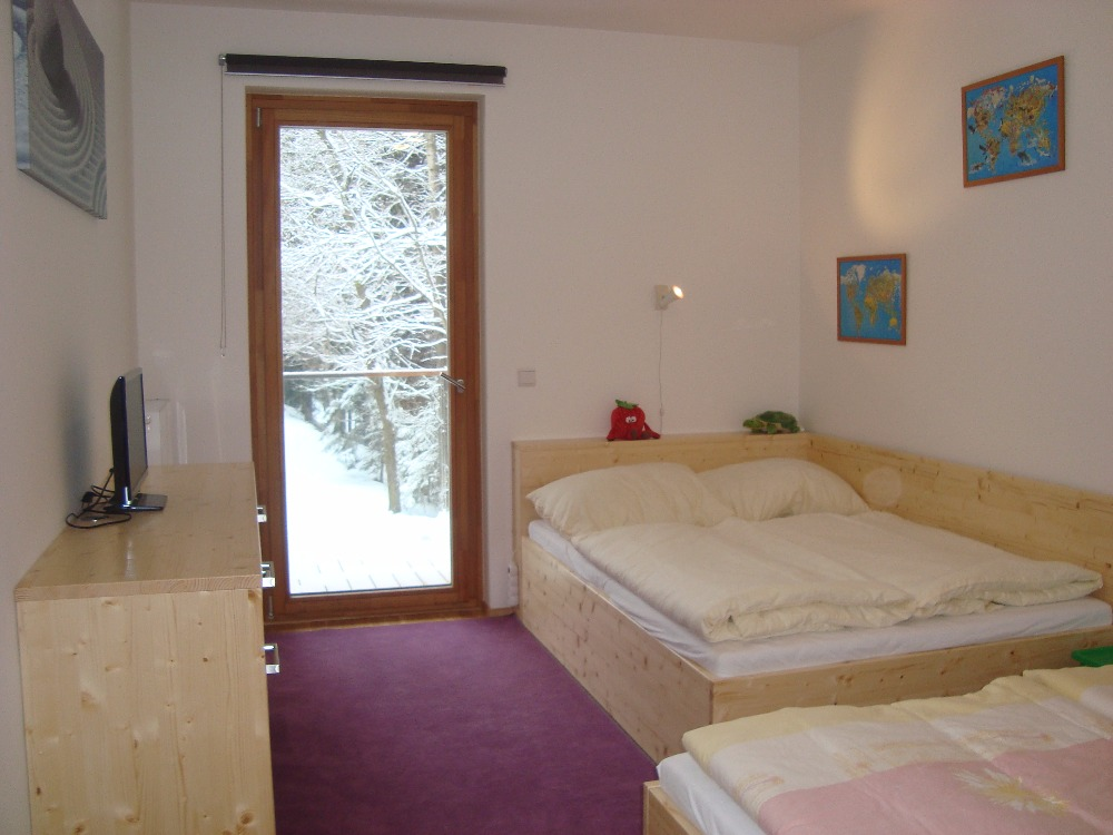 přespání a zimní krajina v apartmánu ve špindlerově mlýnu